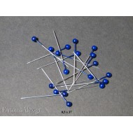 0.5x37 BLUE Acrylic  headed insects mounting pins