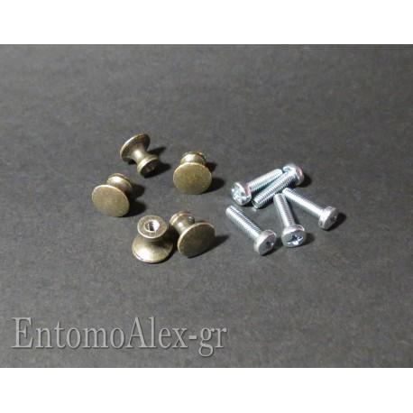 pomelli in metallo per scatole entomologiche
