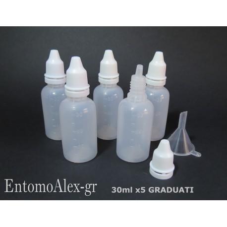 x5   15ml HDPE childproof cap dropper bottles