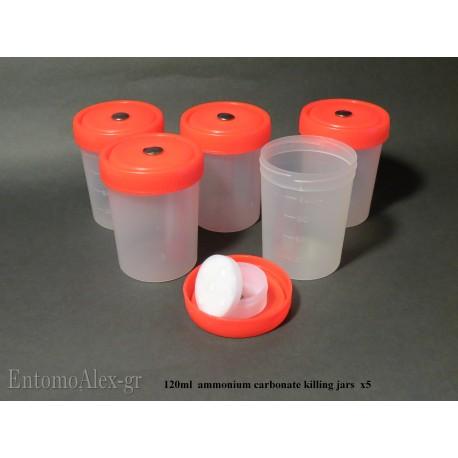 5x  120ml AMMONIUM CARBONATE killing jar with container on cap